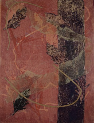 monotype nuances red violet, bend oregon, nature earth, printmaking, monotype, abstract, collage, mixed media, nature, michelle lindblom, contemporary, fabric