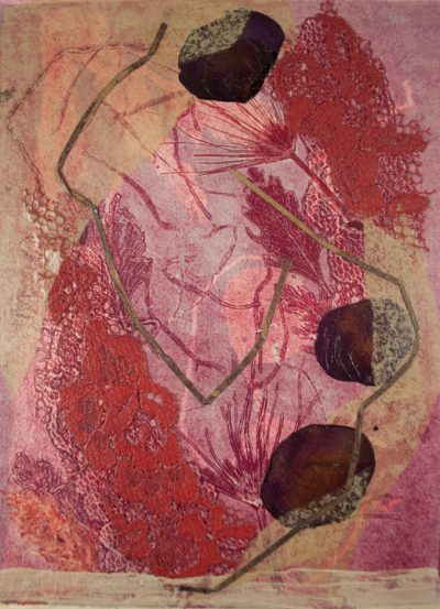 nuances red, monotype, Michelle Lindblom, visual artist, collage, mixed media, printmaking, contemporary, nature