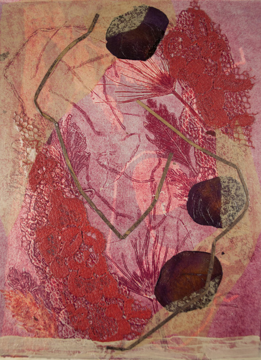 nuances red, bend oregon, nature earth, monotype, abstract, collage, mixed media, nature, michelle lindblom, contemporary, figurative, landscape