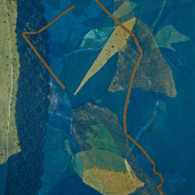 monotype nuances blue, Michelle Lindblom, visual artist, collage, mixed media, printmaking, contemporary, nature