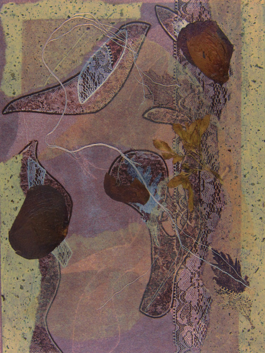 Original, collaged monotype, mixed media, violet hues