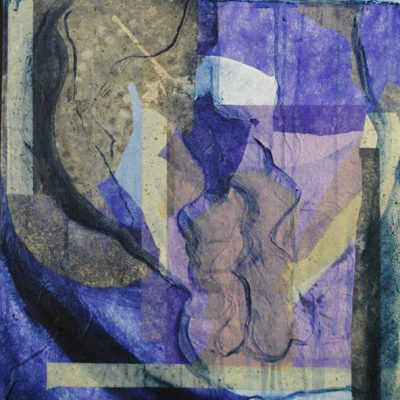 Violet muse, monotype, Michelle Lindblom, visual artist, collage, mixed media, printmaking, contemporary, nature