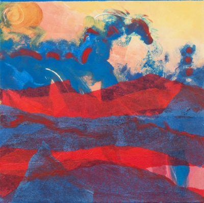 carnival landscape, monotype, Michelle Lindblom, visual artist, collage, mixed media, printmaking, contemporary, nature