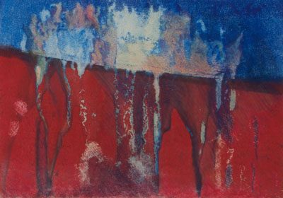 roots ascending, reds, blues, monotype, contemporary, mixed media, abstract nature, mixed media, Michelle Lindblom, nature