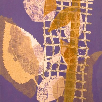 Violet nuances, monotype, Michelle Lindblom, visual artist, collage, mixed media, printmaking, contemporary, nature