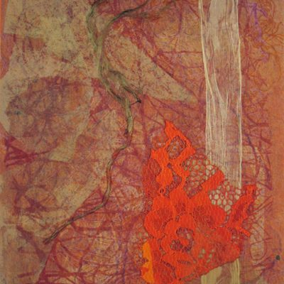 red nuances, abstract nature, collage, mixed media, Michelle Lindblom, contemporary, nature