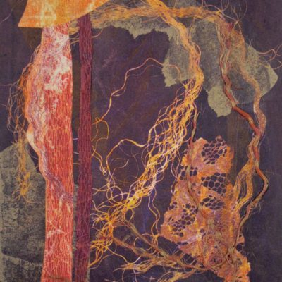 red shades, abstract nature, collage, mixed media, Michelle Lindblom, contemporary, nature