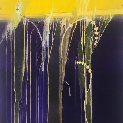 cultivating flow, violet, yellow, monotype, contemporary, mixed media, abstract nature, mixed media, Michelle Lindblom, contemporary, nature