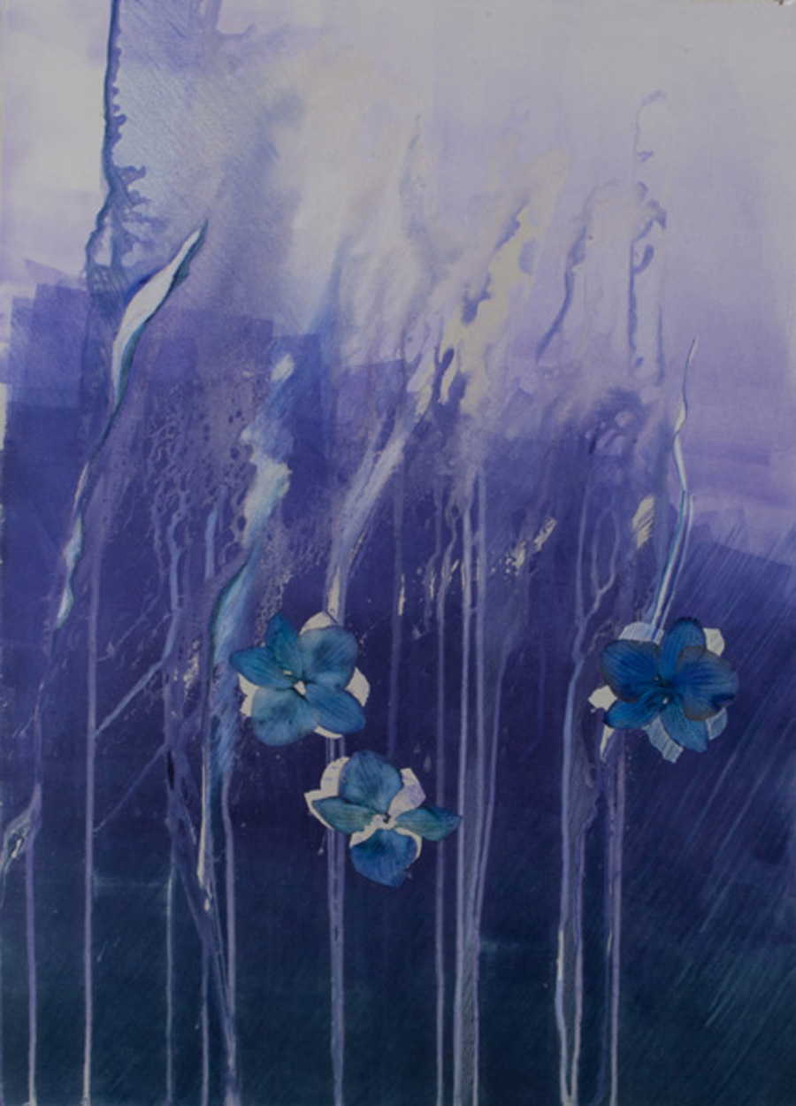 migration, violet, yellow, monotype, contemporary, mixed media, abstract nature, mixed media, Michelle Lindblom, contemporary, nature