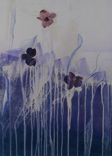 natural divergence, mixed media monotype, abstract nature, collage, mixed media, Michelle Lindblom, contemporary, nature