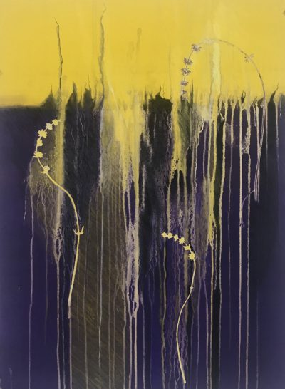 roots released, violet, yellow, monotype, contemporary, mixed media, abstract nature, mixed media, Michelle Lindblom, contemporary, nature