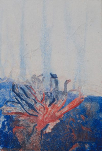 germination, reds, plants, blues, monotype, contemporary, mixed media, abstract nature, mixed media, Michelle Lindblom, nature
