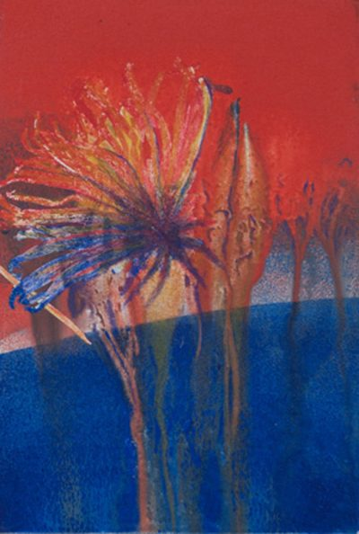 resurgence, landscape. oranges, reds, blues, monotype, mixed media, abstract nature, mixed media, Michelle Lindblom, contemporary, nature
