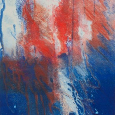 balance, reds, blues, monotype, contemporary, mixed media, abstract nature, mixed media, Michelle Lindblom, nature