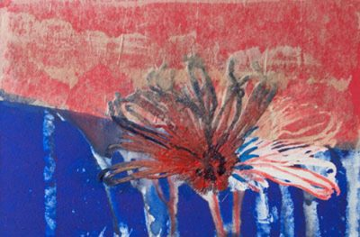 passage, reds, plants, blues, monotype, contemporary, mixed media, abstract nature, mixed media, Michelle Lindblom, nature