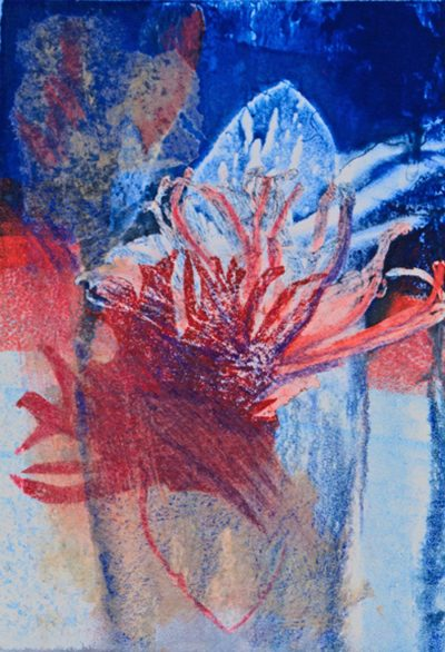 surge, reds, plants, blues, monotype, contemporary, mixed media, abstract nature, mixed media, Michelle Lindblom, nature