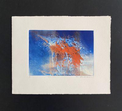 deluge, original, monotype, michelle lindblom, bend oregon, printmaking
