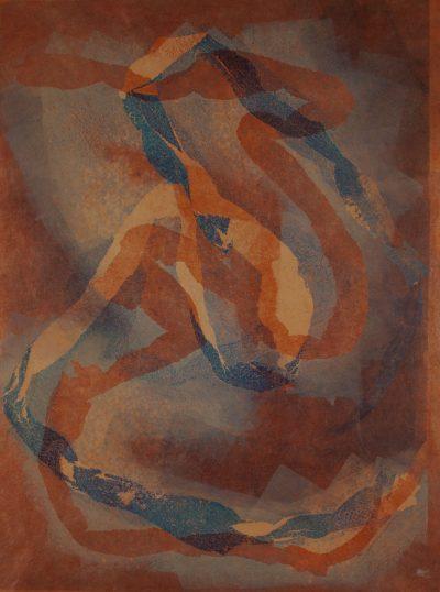 spiritual energy, snake skins, renewal, monotype, printmaking, original, nature, michelle lindblom, bend oregon, spiritual